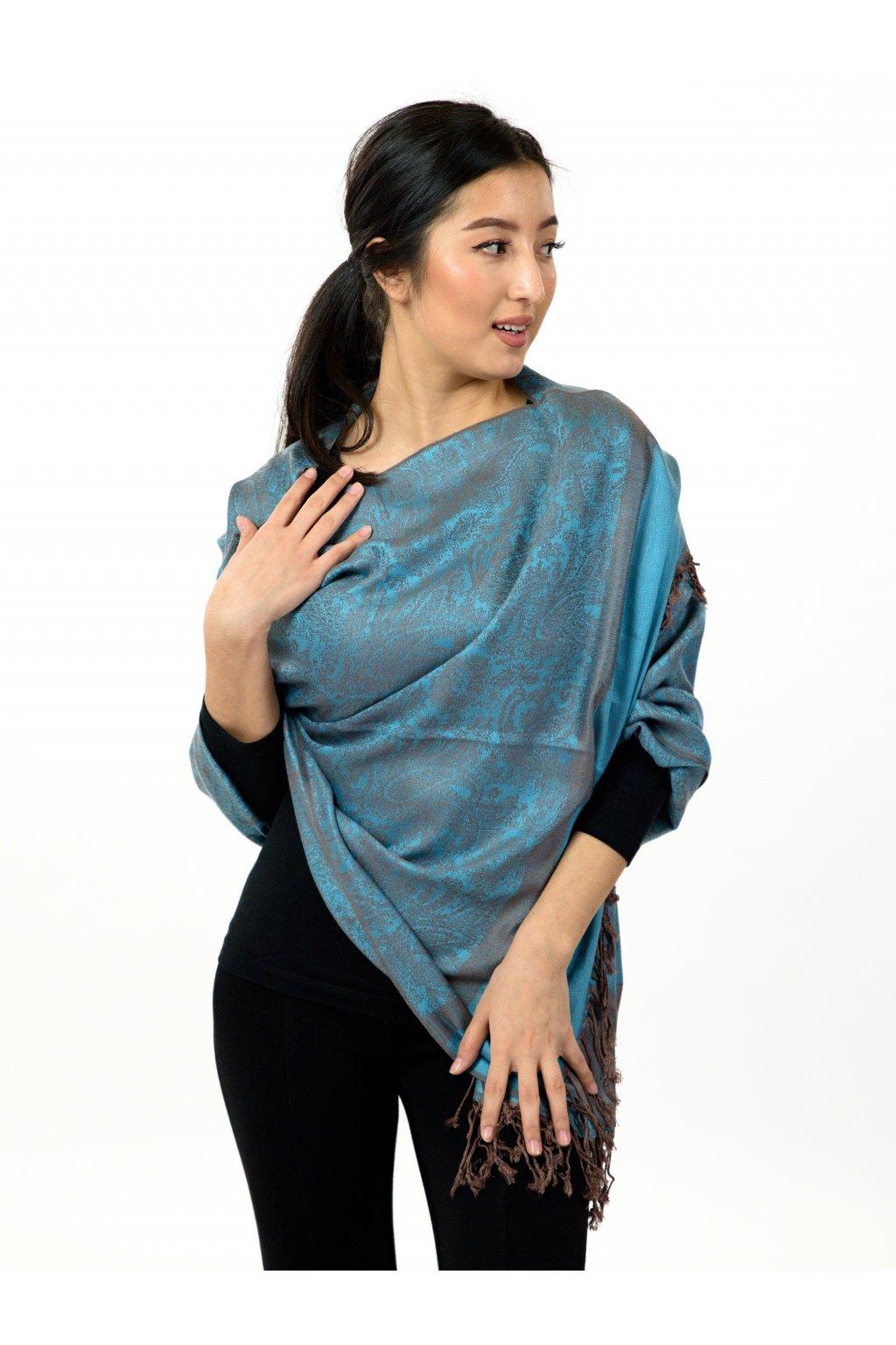 Šátek pašmína Nepal - hnědá s tyrkysovou