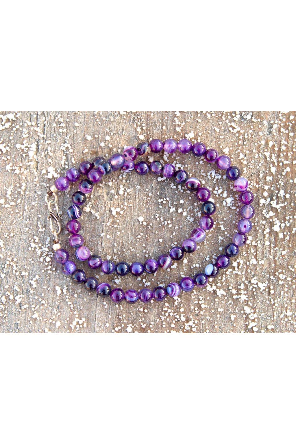 Energetický náhrdelník - achát fialový