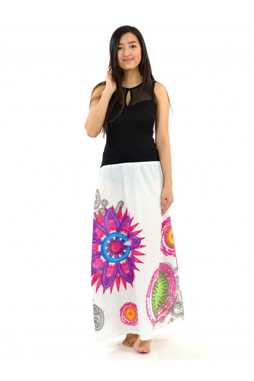 Dlouhá sukně Mandala of Nepal - bílá