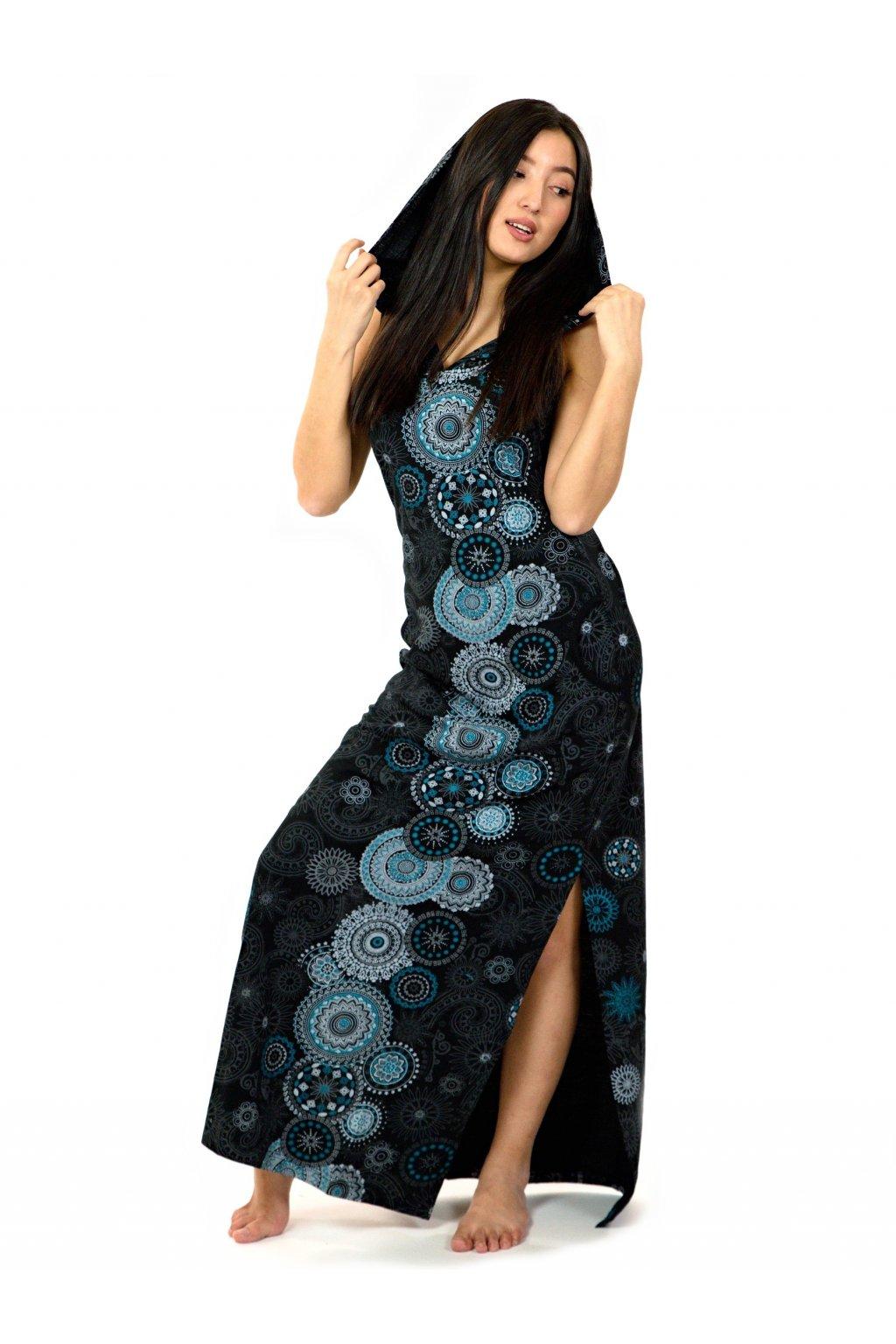 Dlouhé šaty s kapucí Lahaina - černá s tyrkysovou