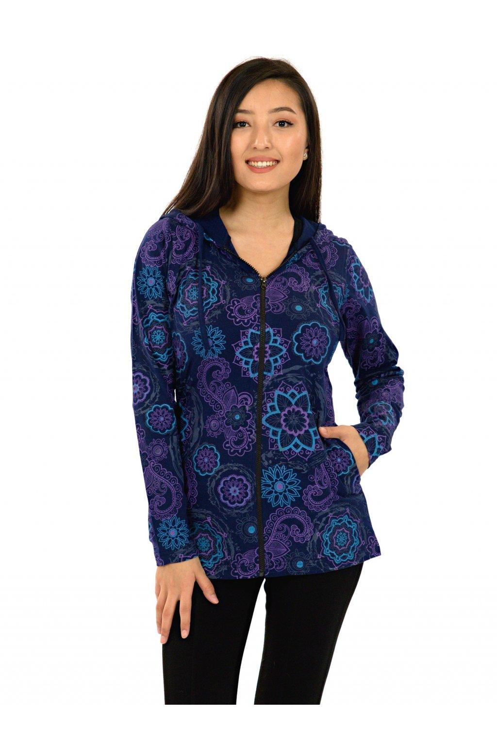 Mikina s kapucí Luana - modrá s fialovou