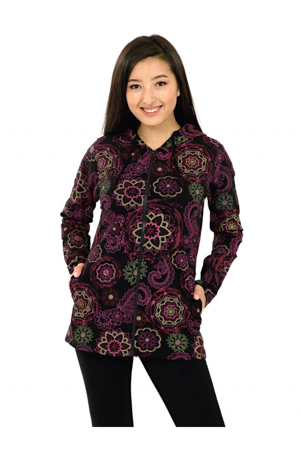Mikina s kapucí Luana - černá s růžovou