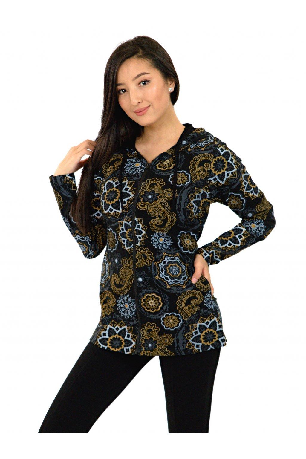 Mikina s kapucí Luana - černá s béžovou