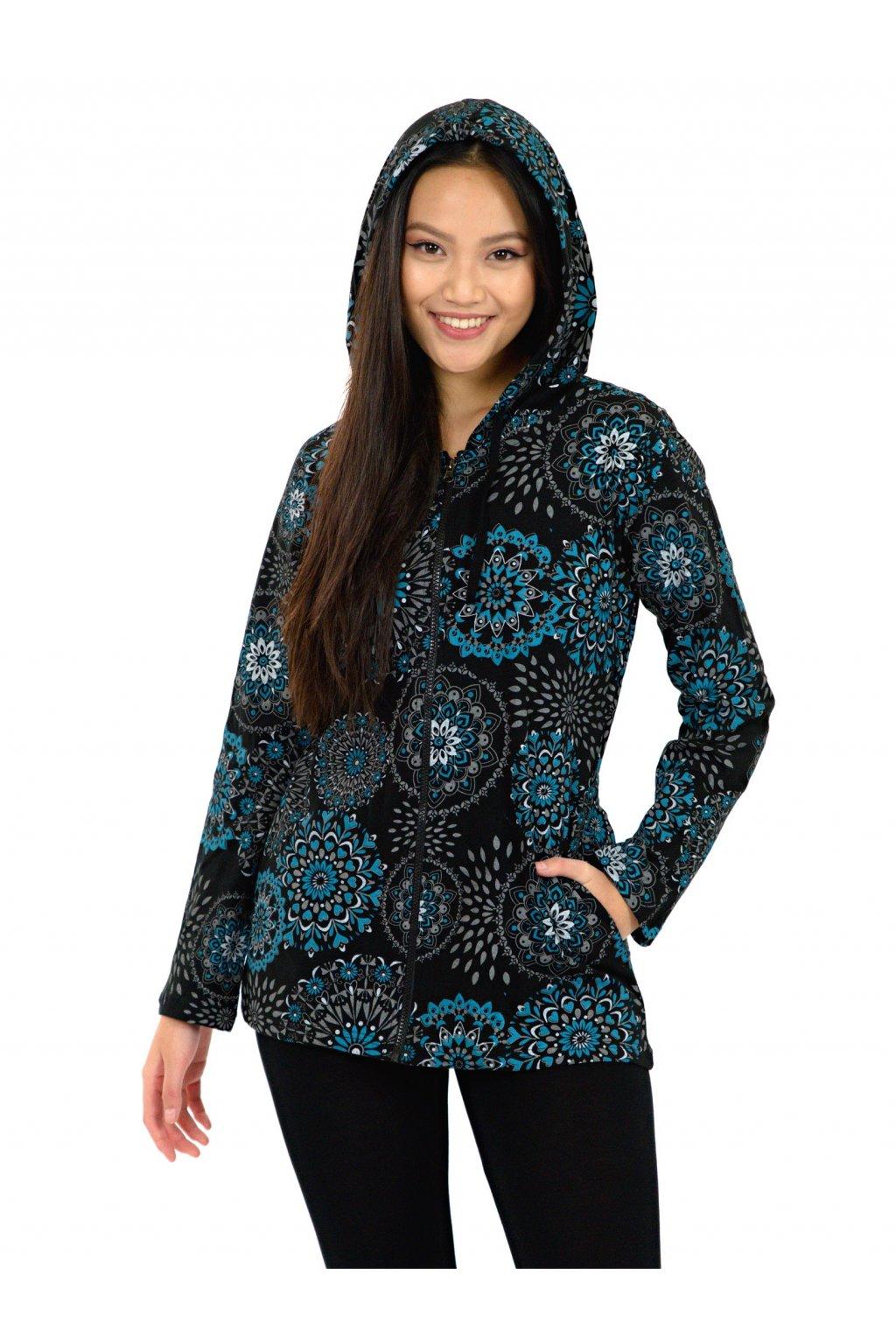 Mikina s kapucí Alima - černá s tyrkysovou