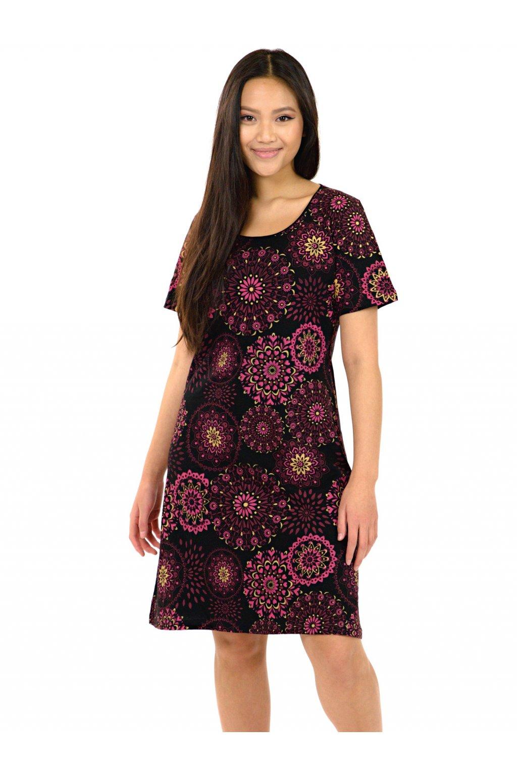 Šaty Manava - černá s růžovou