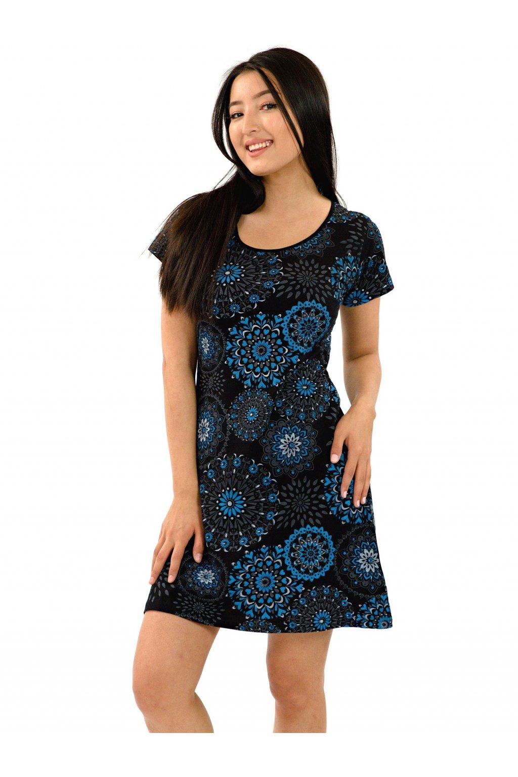 Šaty Manava - černá s tyrkysovou