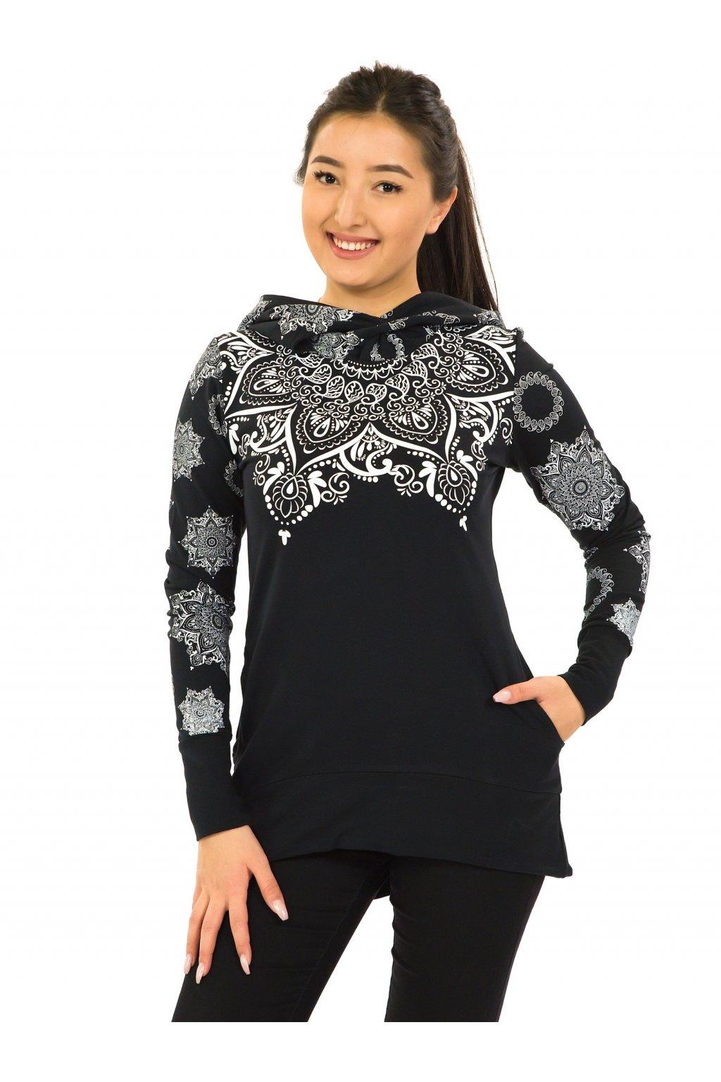 Mikina Moana s maxi kapucí - černá s bílou