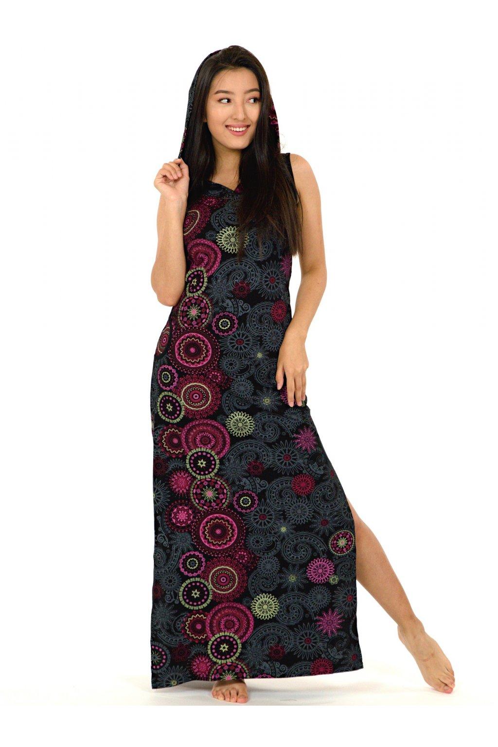 Dlouhé šaty s kapucí Lahaina - černá s růžovou