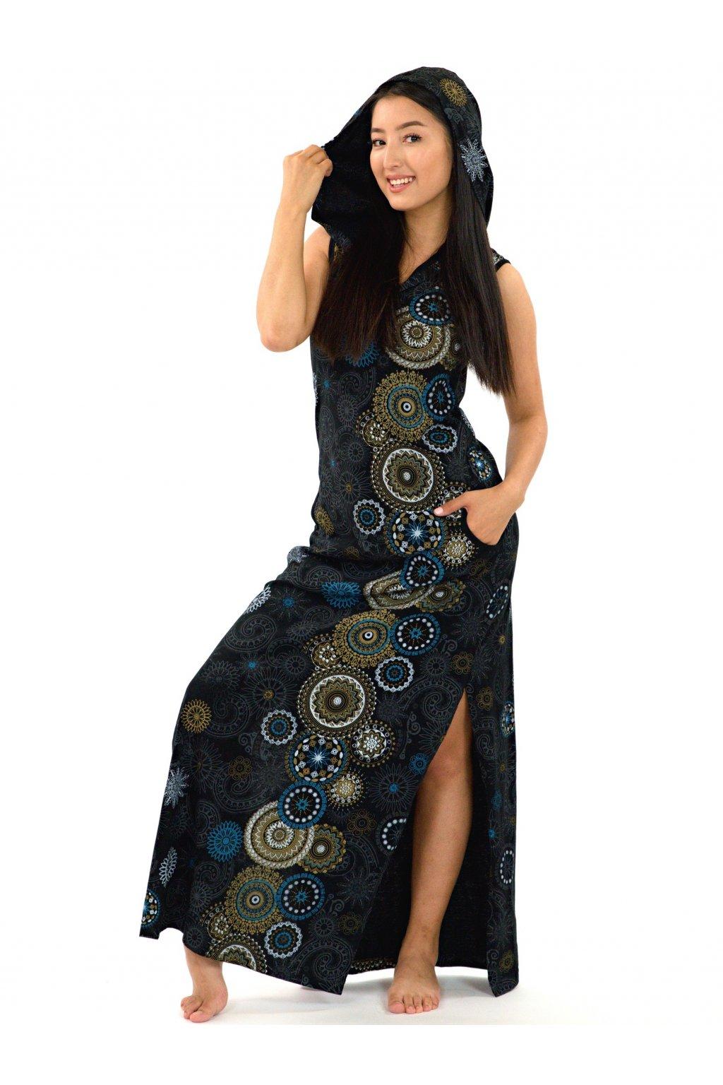 Dlouhé šaty s kapucí Lahaina - béžové s modrou