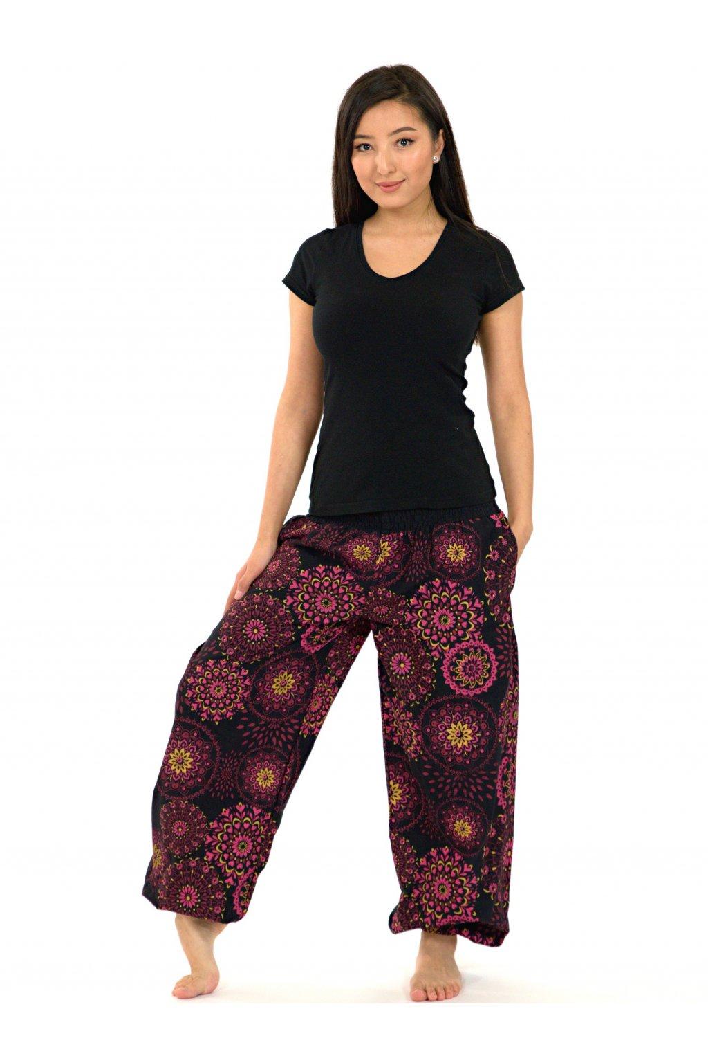 Kalhoty Kalea - černá s růžovou