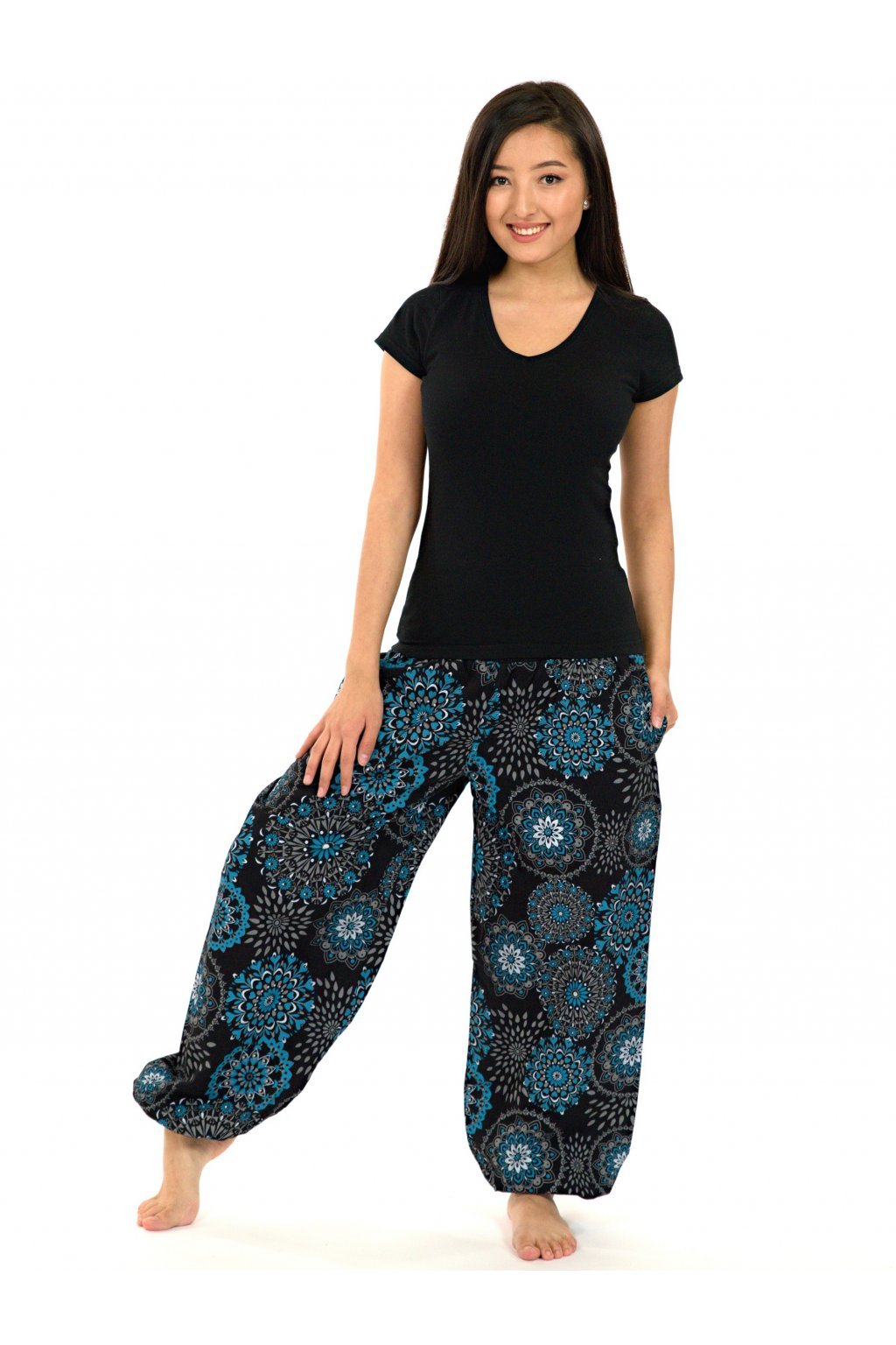Kalhoty Kalea - černá s tyrkysovou
