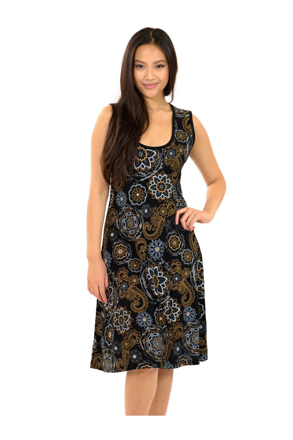 Šaty Anela - černá s béžovou
