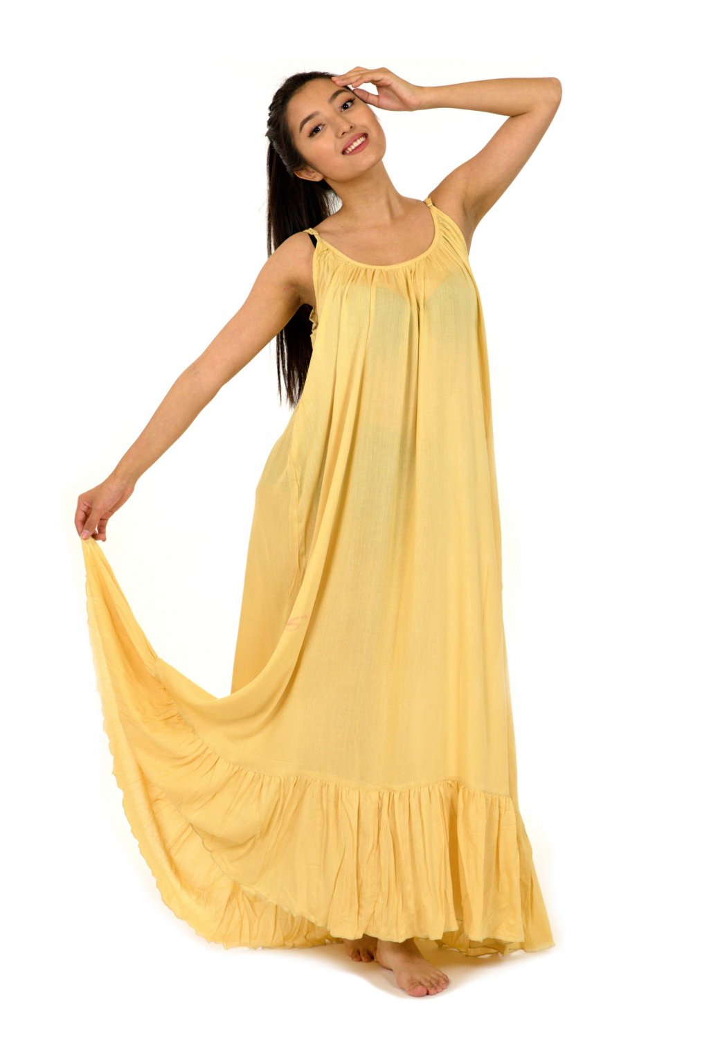 Vzdušné maxi šaty Mililani - béžové