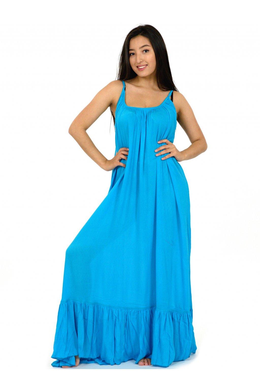 Vzdušné maxi šaty Mililani - tyrkysové