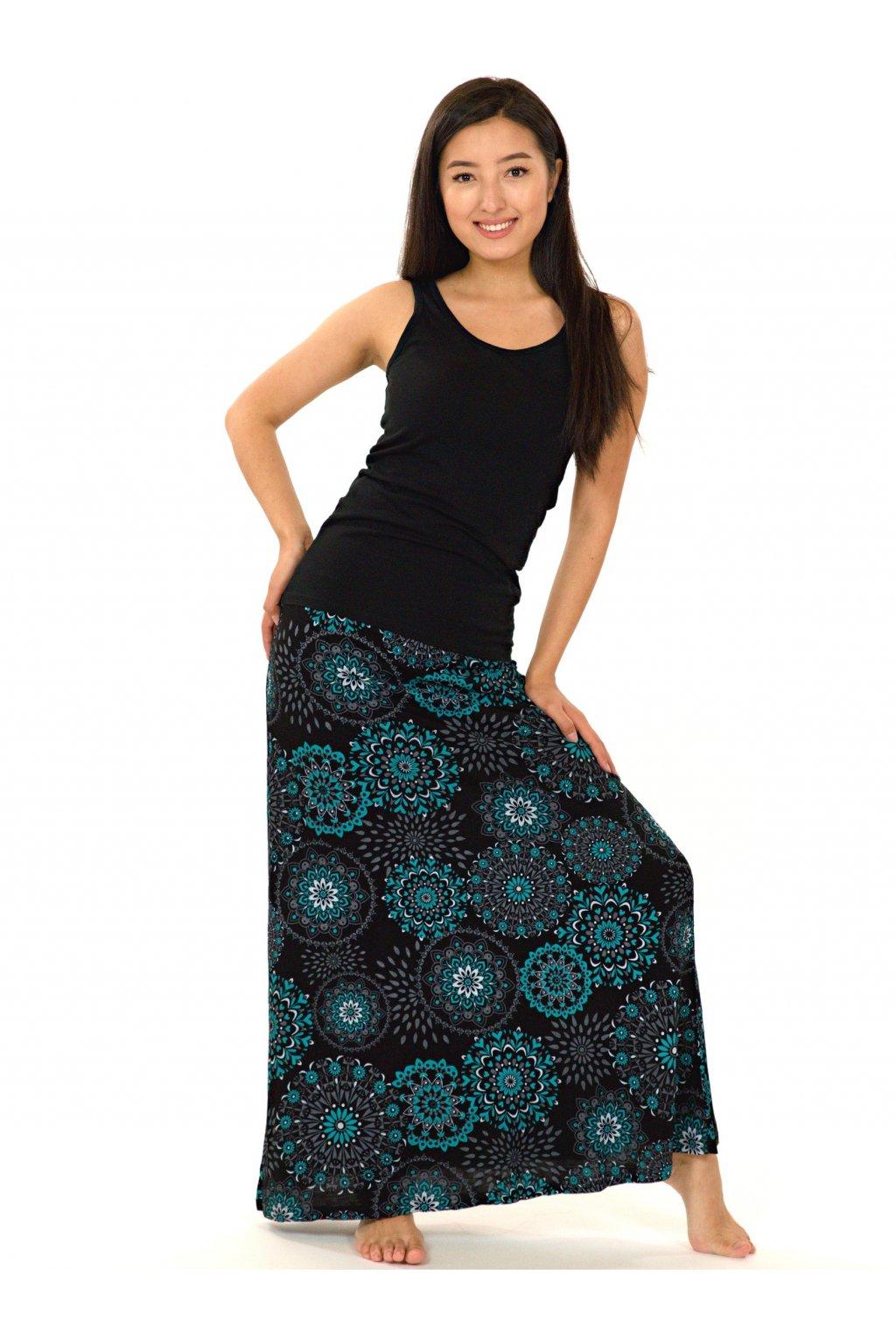 Dlouhá sukně Wahine - černá s tyrkysovou