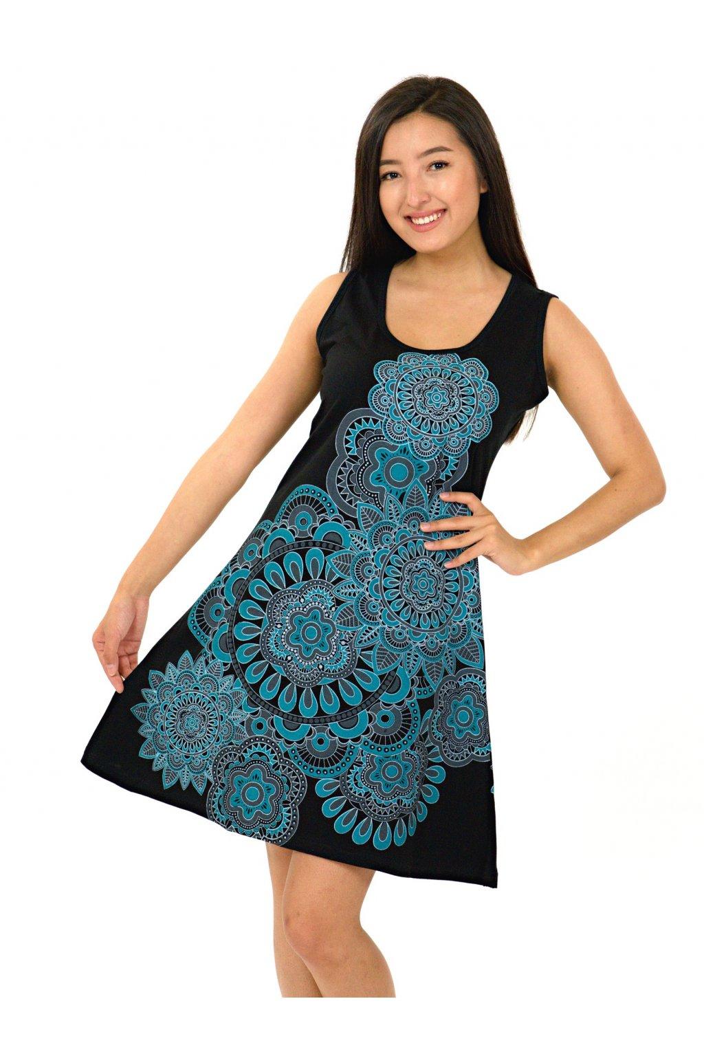 Šaty Keoni - černá s tyrkysovou