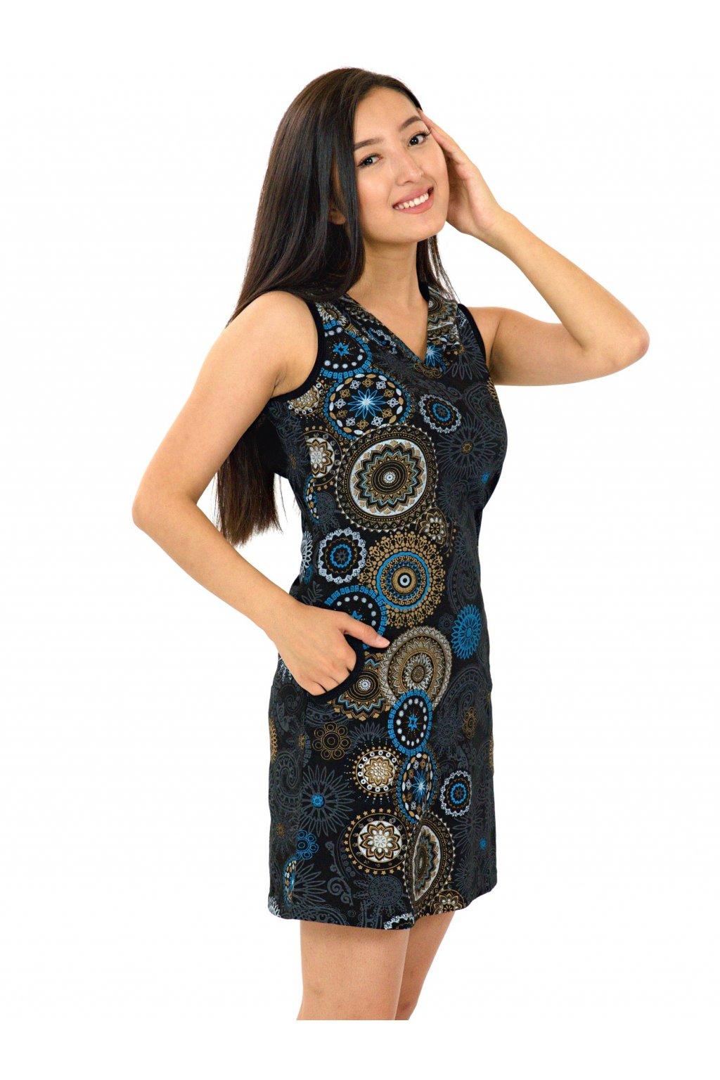 Krátké šaty s kapucí Haina - béžové s modrou