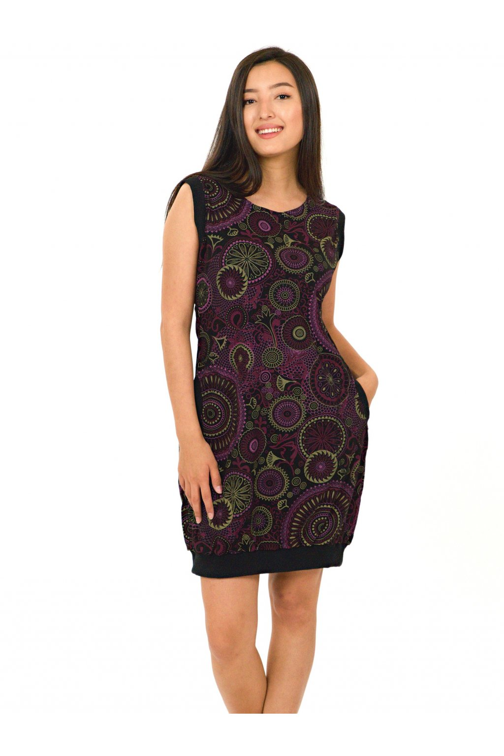 Šaty Flowee - černá s růžovou