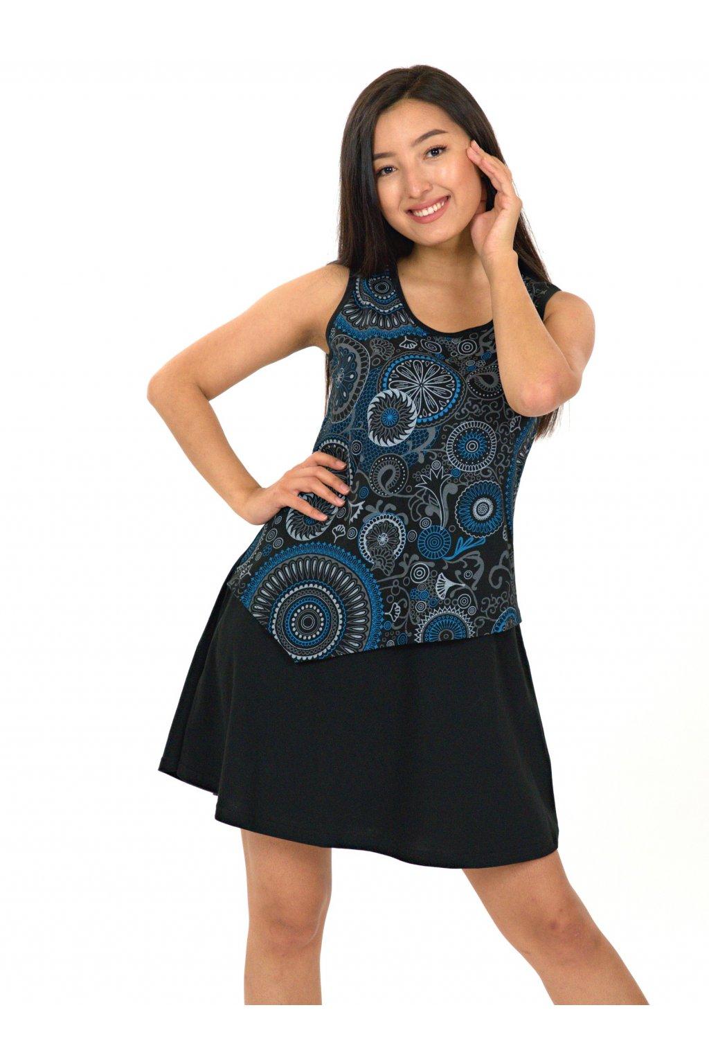 Šaty Maruru - černá s modrou