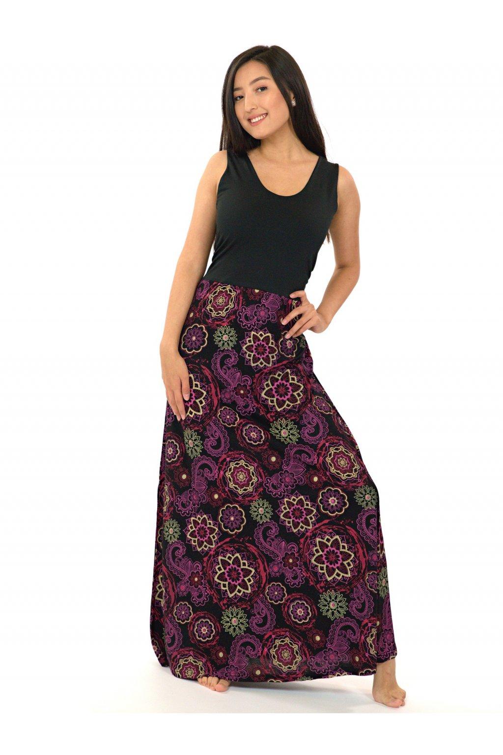 Dlouhé maxi šaty Kalimera - černá s růžovou