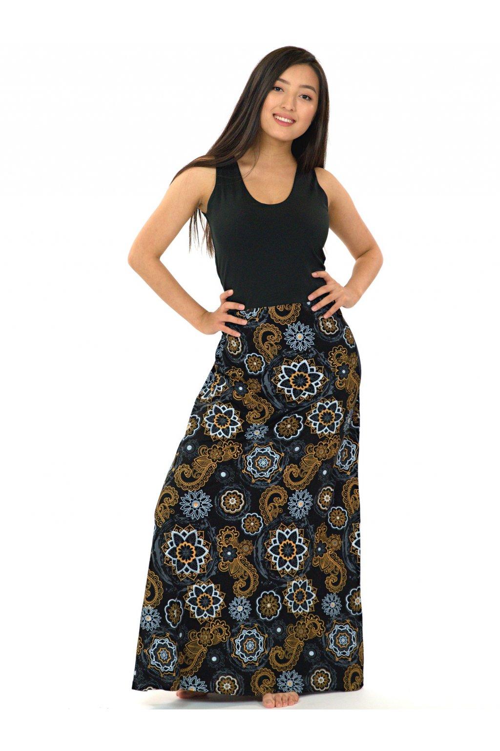 Dlouhé maxi šaty Kalimera - černá s béžovou