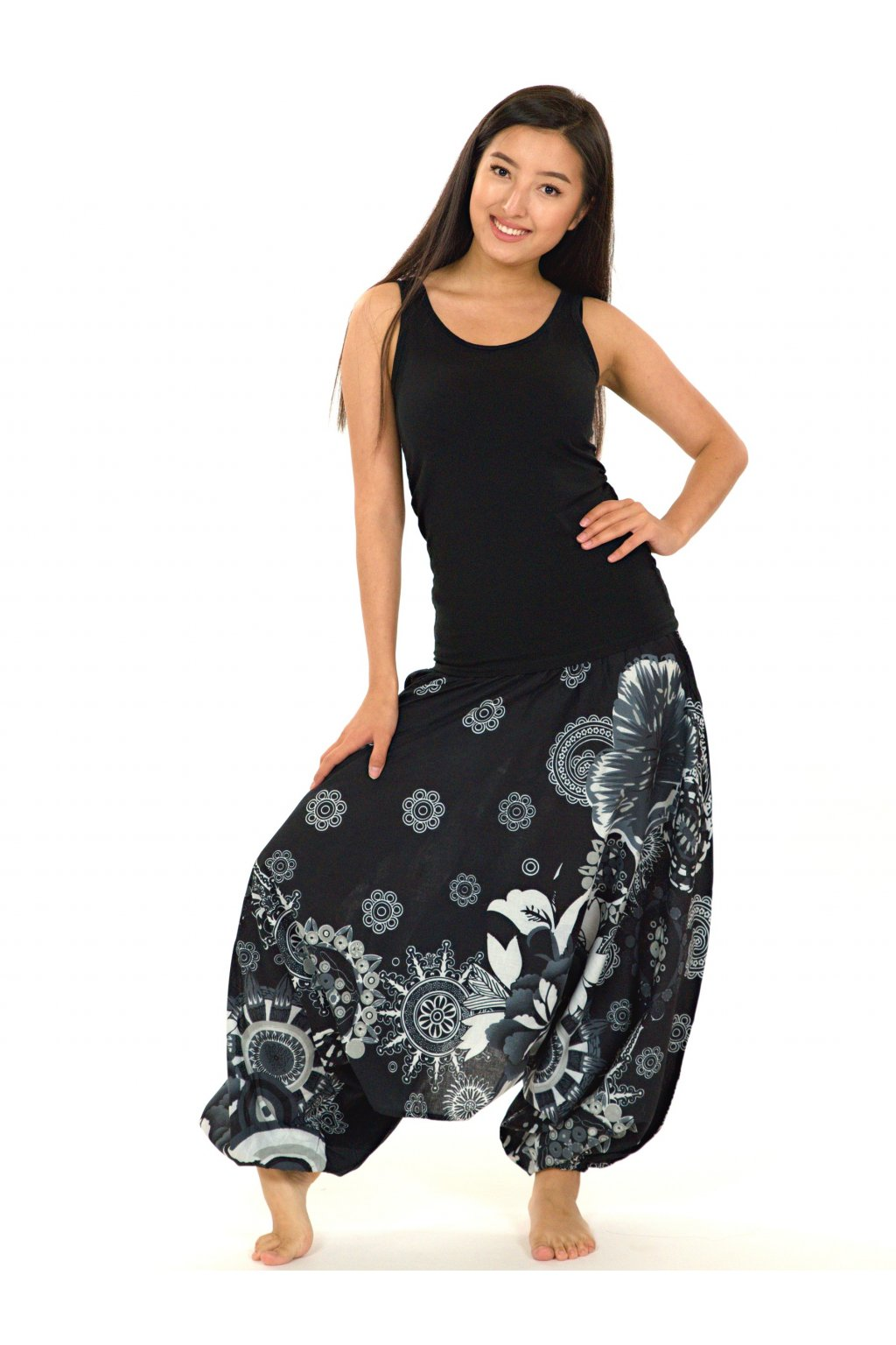 Kalhoty-šaty-top 3v1 Wailea - černé s bílou