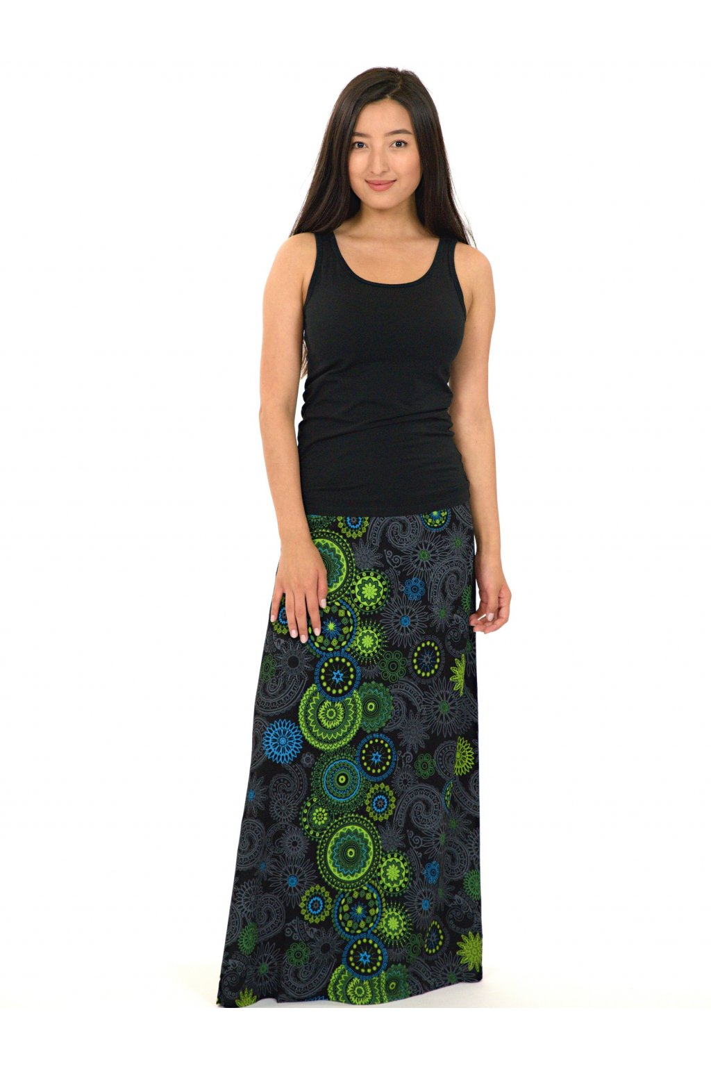 Dlouhá sukně Savai - černá s limetkovou