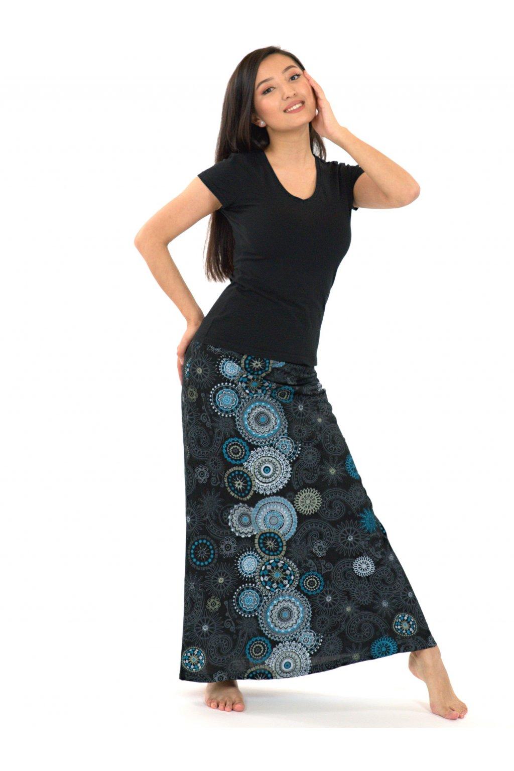 Dlouhá sukně Savai - černá s tyrkysovou
