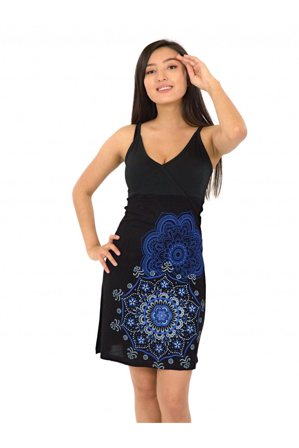 Šaty Akaroa - černá s modrou