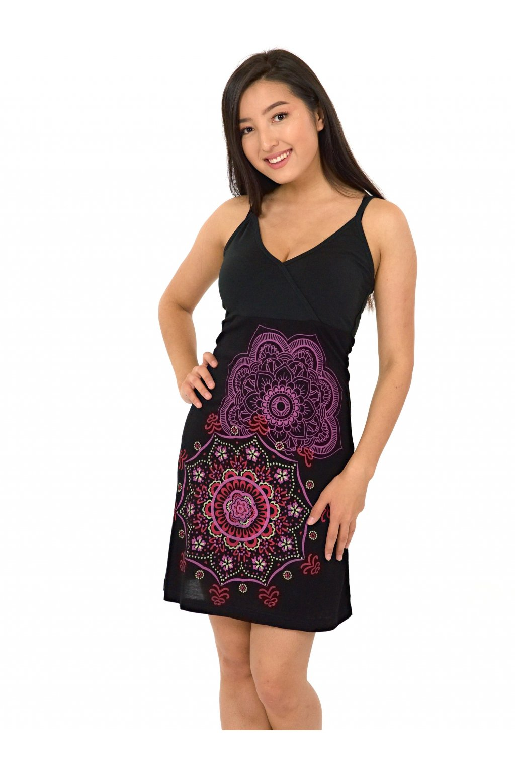 Šaty Akaroa - černá se růžovou