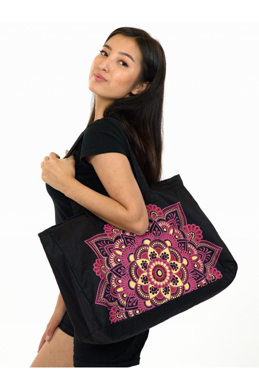 Maxi kabelka Loa - černá s růžovou
