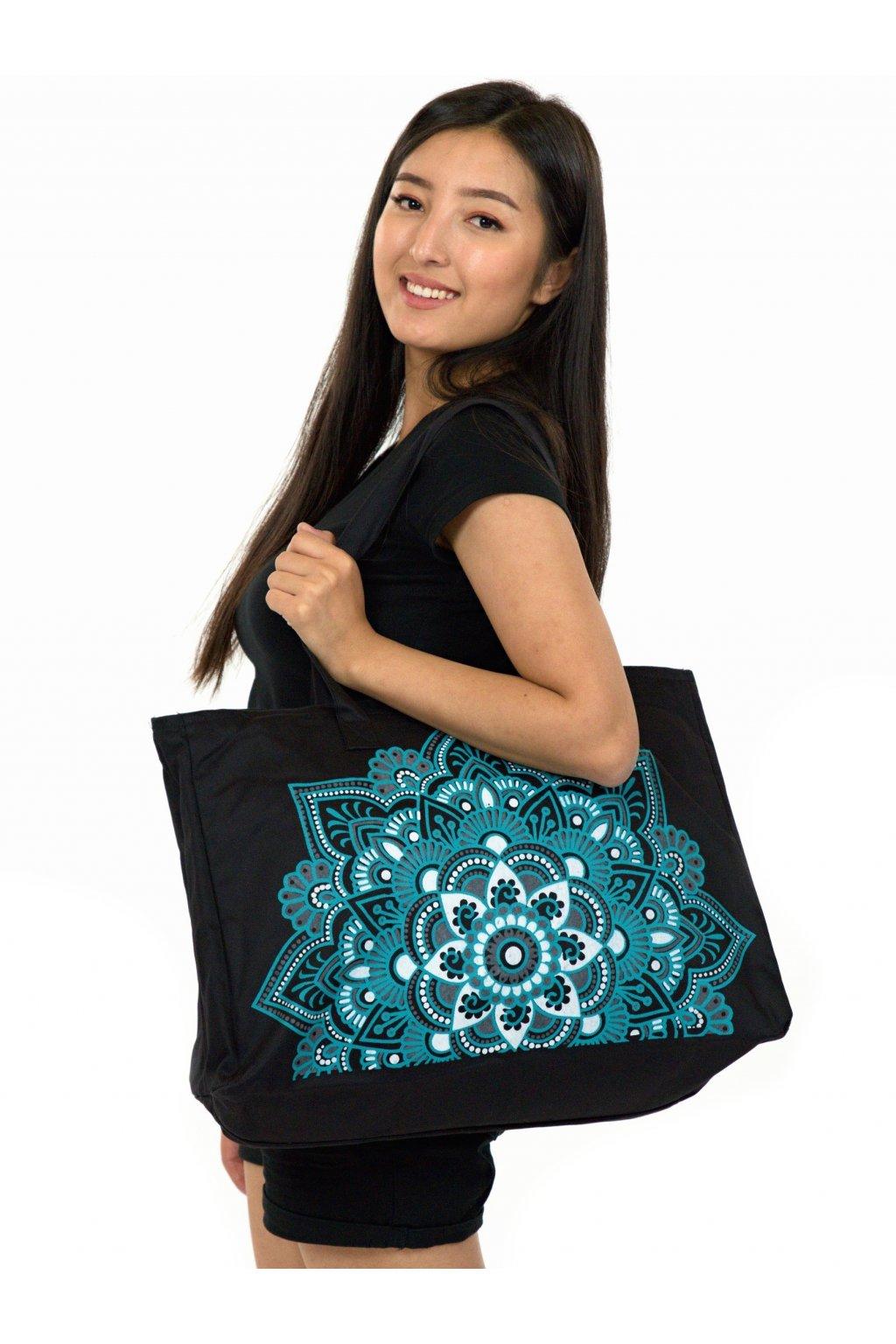 Maxi kabelka Loa - černá s tyrkysovou