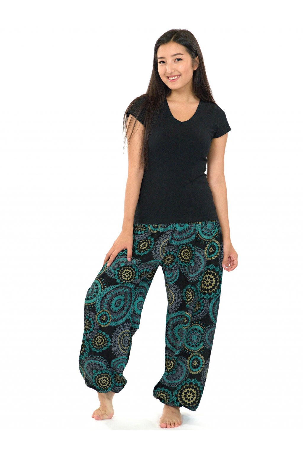 Kalhoty Hanahou - černá s tyrkysovou