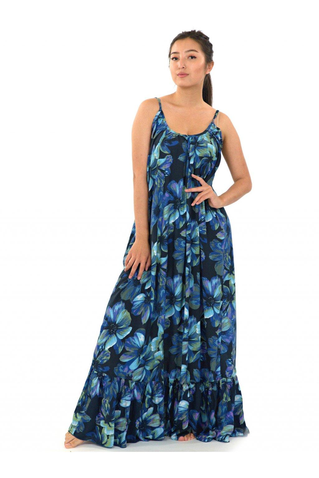 Vzdušné maxi šaty Tiaré - tyrkysová s modrou