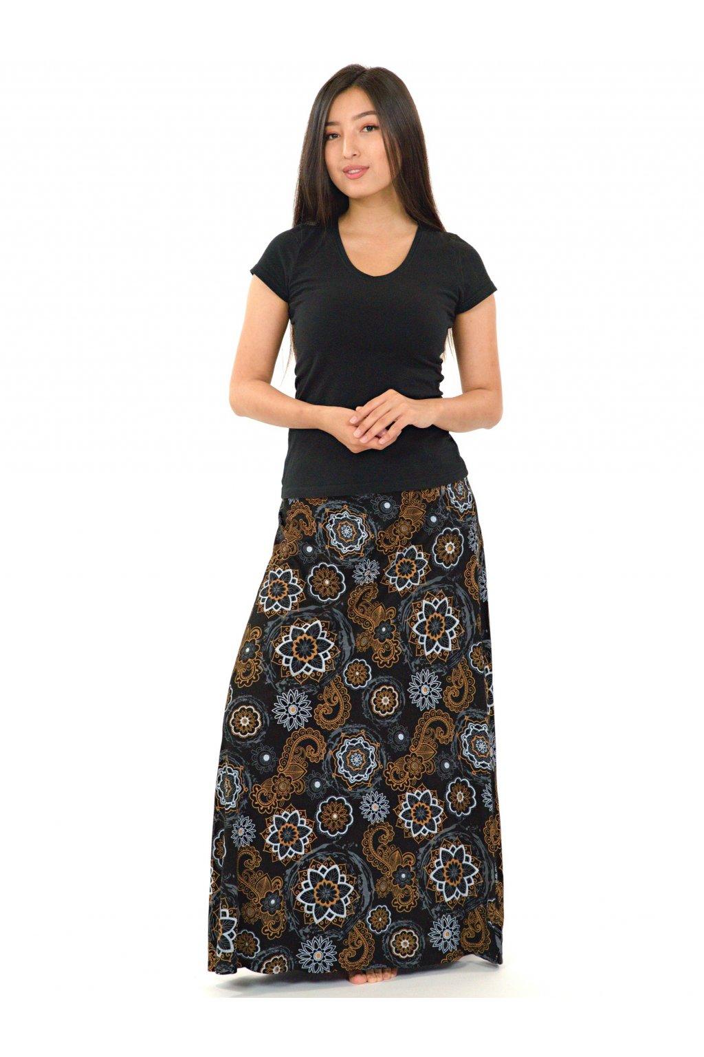 Dlouhá sukně Bora- černá s béžovou