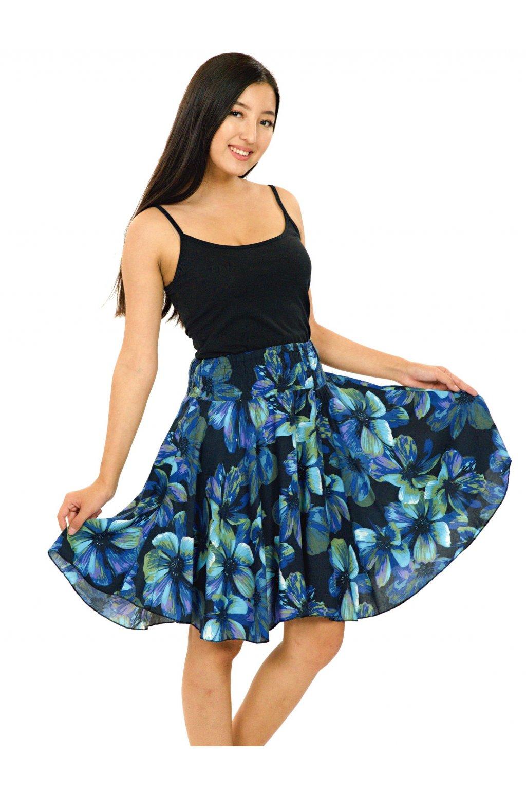 Kolová sukně Tiaré - tyrkysová s modrou