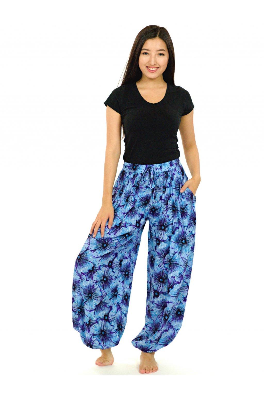 Kalhoty Lanai - tyrkysová s modrou