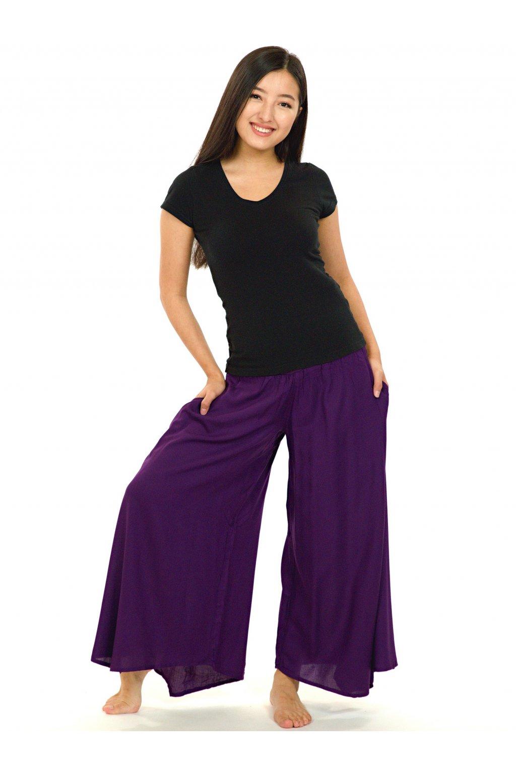 Široké kalhoty Plain - ostružinová