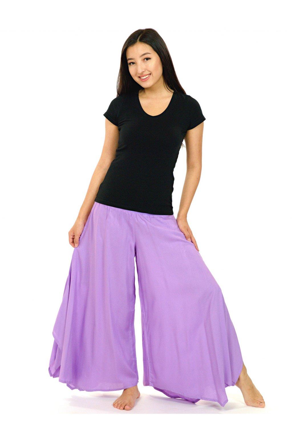 Široké kalhoty Plain - levandulová