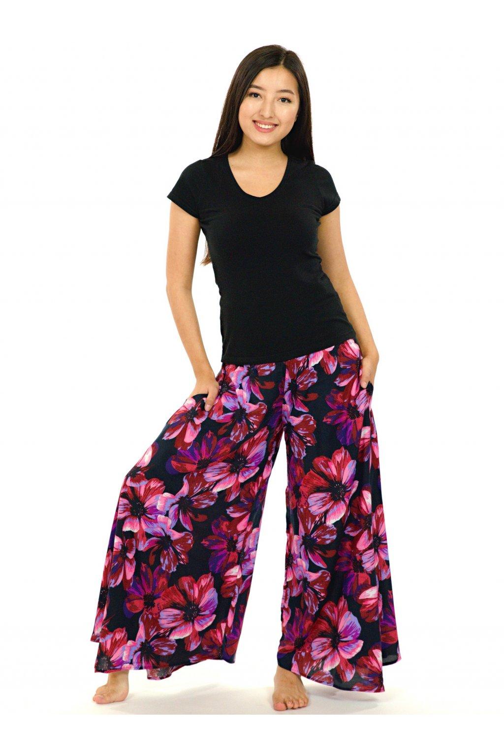 Široké kalhoty Tiaré - růžová s fialovou