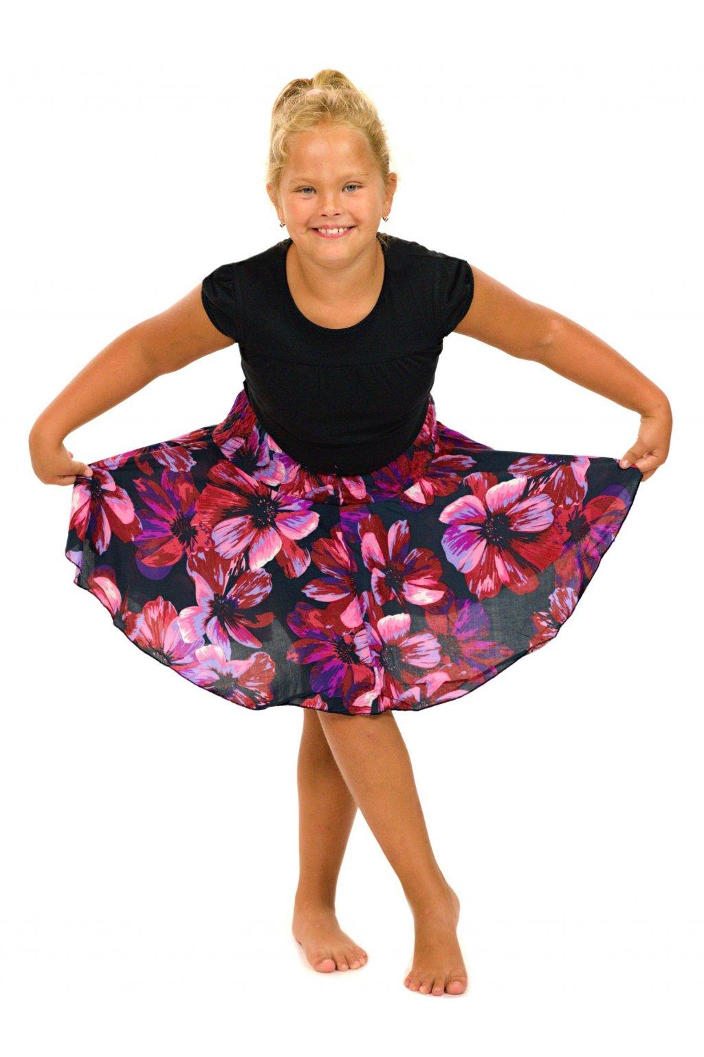 Dětská kolová sukně Tiaré - růžová s fialovou