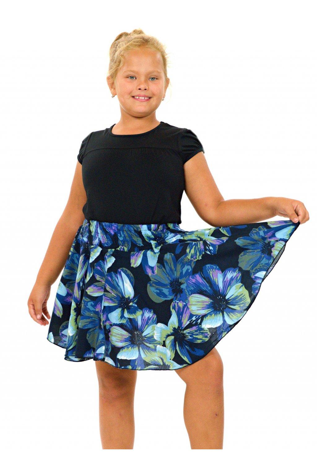 Dětská kolová sukně Tiaré - tyrkysová s modrou