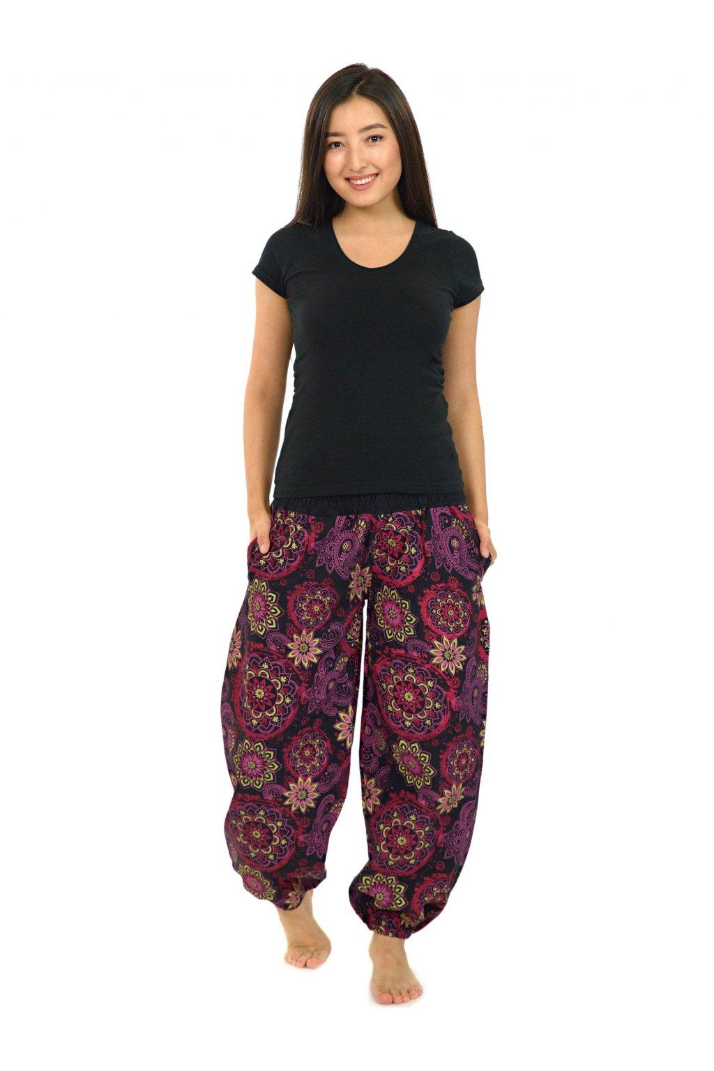 Kalhoty Hooki - černá s růžovou