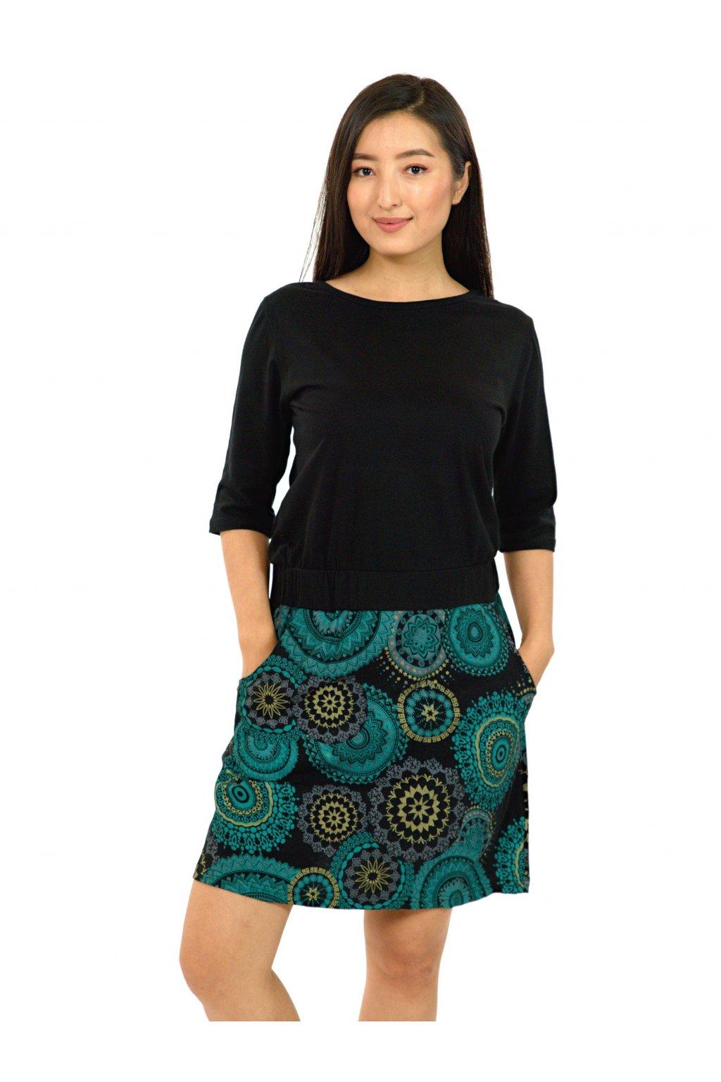 Šaty Kauai s 3/4 rukávem - černá s tyrkysovou