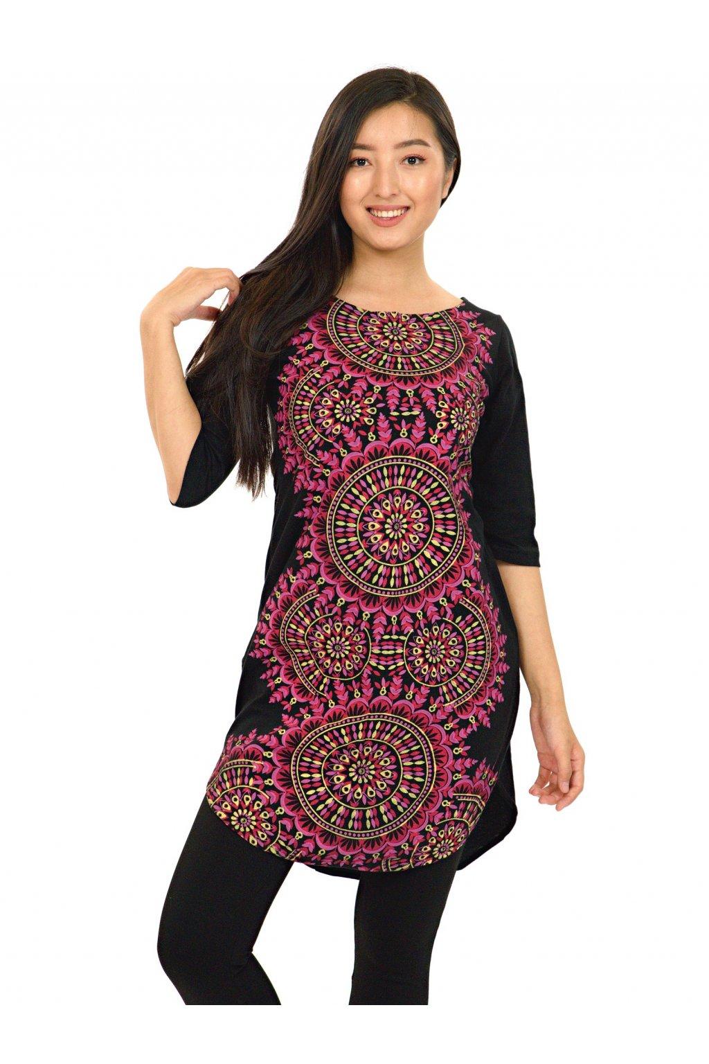 Tunika / šaty s 3/4 rukávem Lihue - černá s růžovou