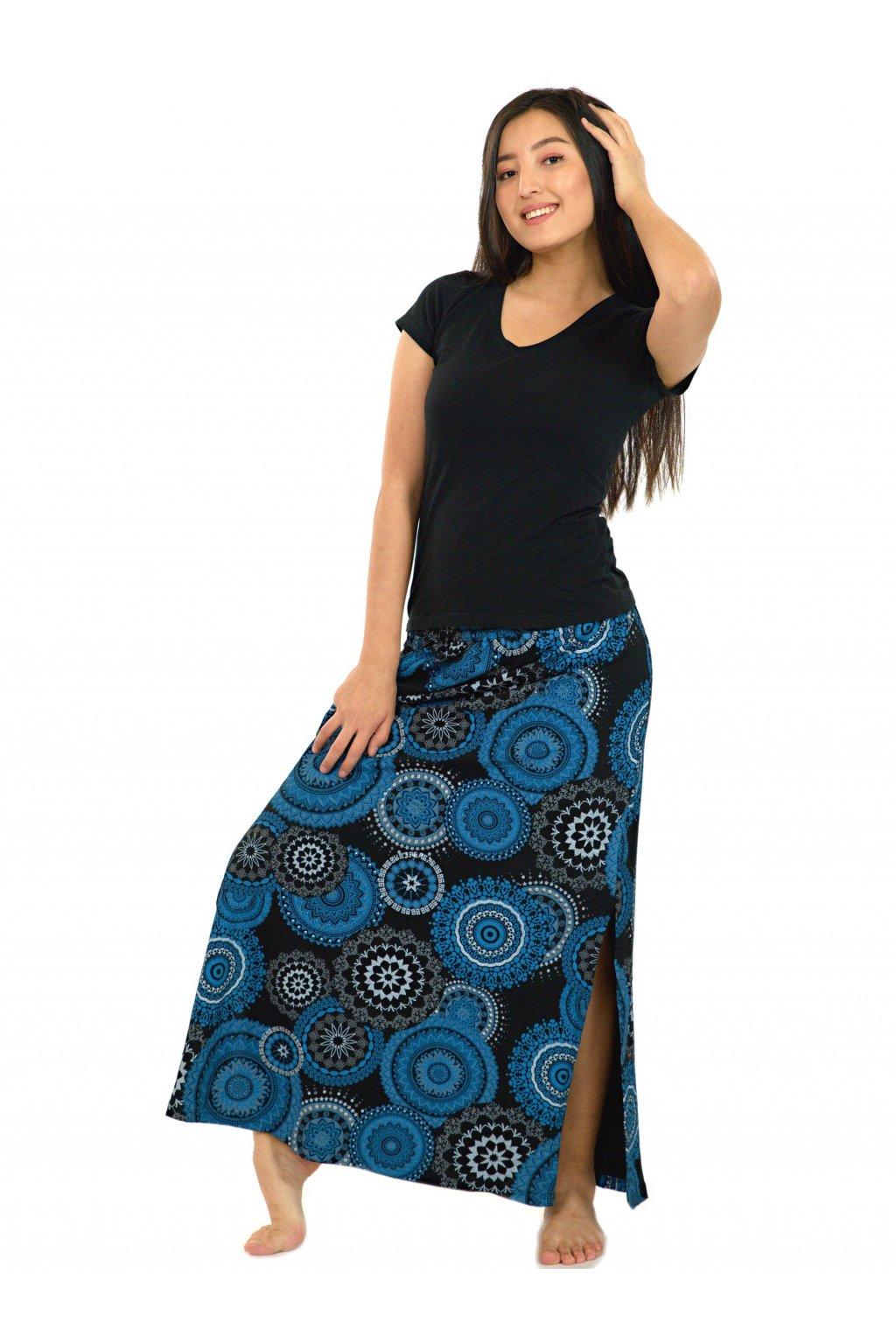 Dlouhá sukně Kilauea- černá s modrou