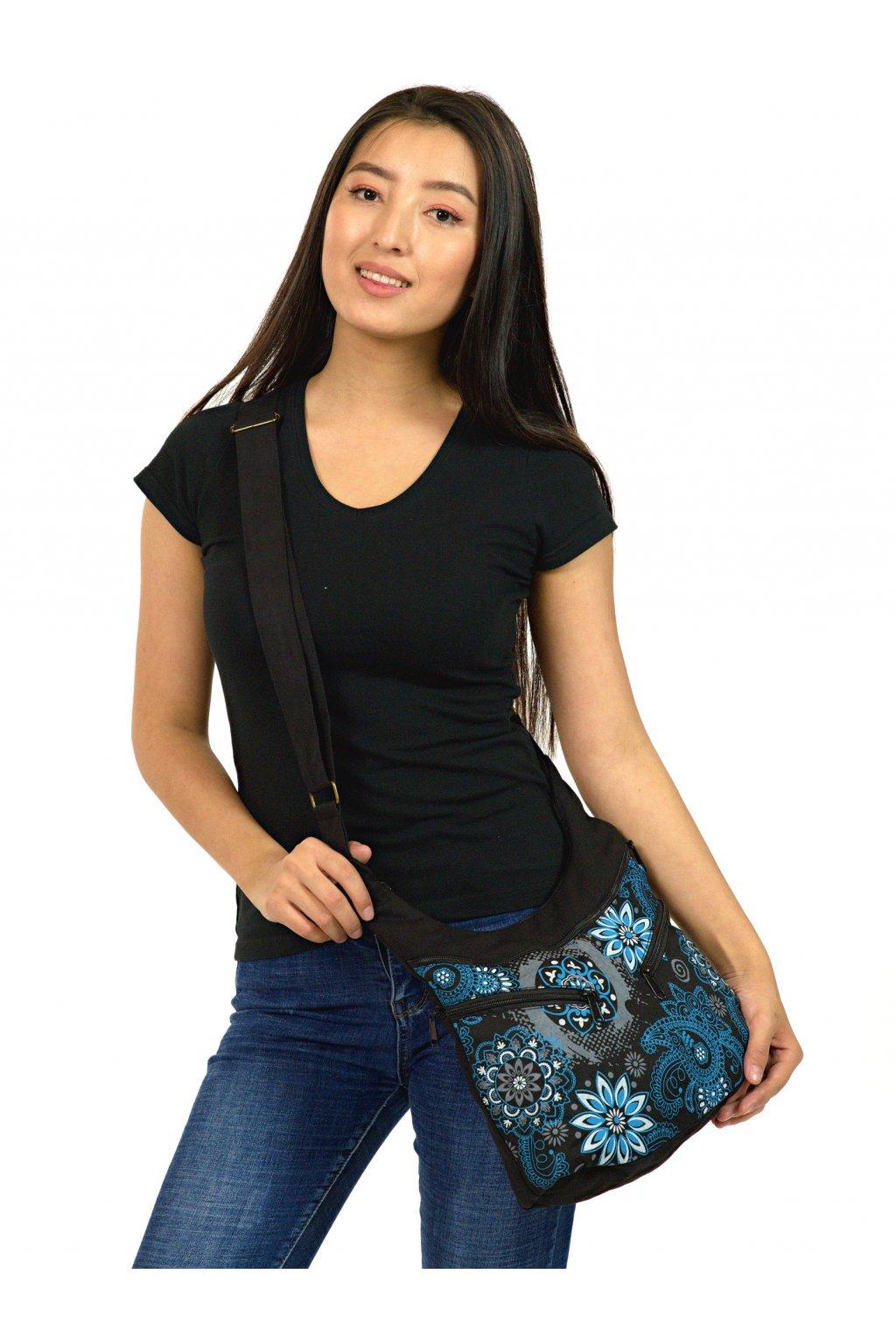 Crossbody kabelka Makua - černá s modrou