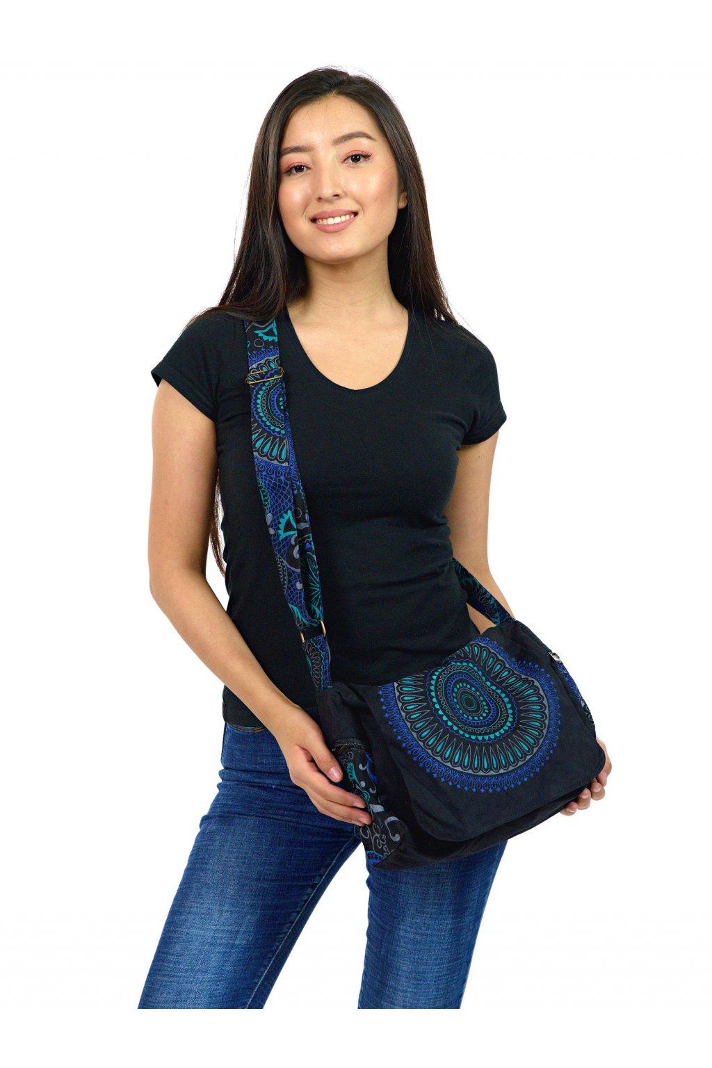Crossbody kabelka Aiea - černá s tyrkysovou