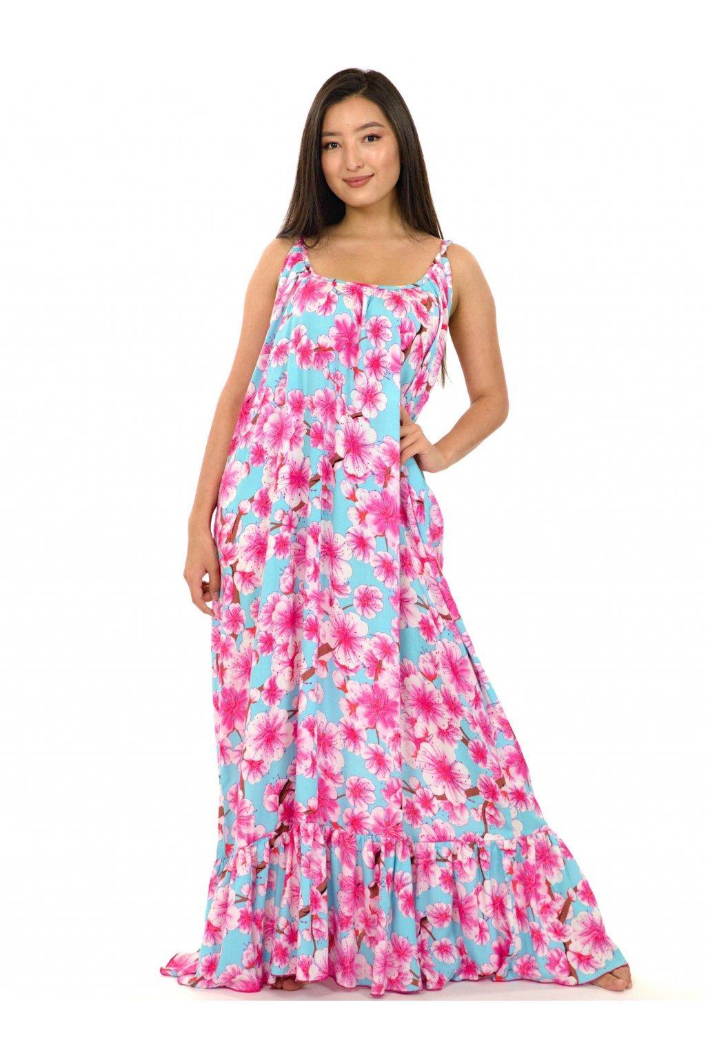 Vzdušné maxi šaty Sakura - tyrkysové