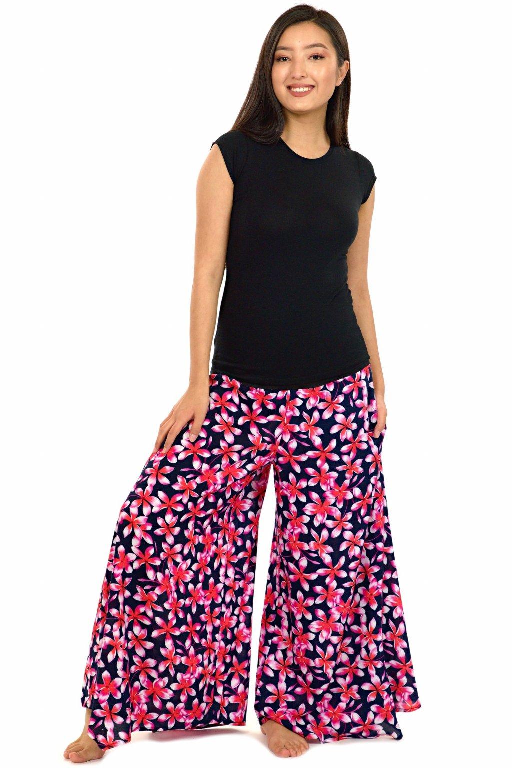 Široké kalhoty Plumeria - černé